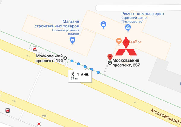 Схема прохода от метро Палац спорту. Кондиционеры Mitsubishi  Харьков